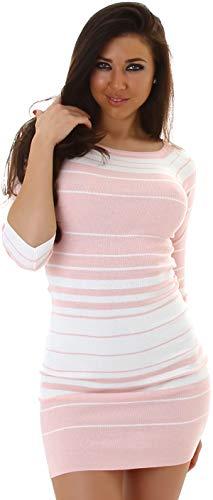 Jela London Damen Feinstrick Strickkleid Stretch-Kleid Pulloverkleid Streifen Minikleid Longpullover 3/4-Arm, Rosa Weiß 34 36 38 - 1