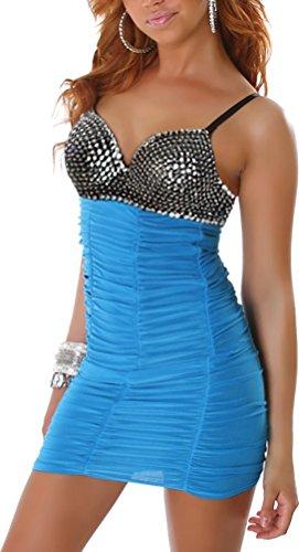 Jela London Damen Kleid Cocktailkleid Pailetten und Perlen V-Auschnitt - Türkis-Dunkel, 34/36 -