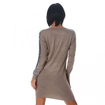 Jela London Damen Kleid Minikleid Mini Pullover Longshirt Pailletten V-Ausschnitt Latte Macchiato 34,36,38,40 - 2
