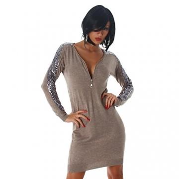 Jela London Damen Kleid Minikleid Mini Pullover Longshirt Pailletten V-Ausschnitt Latte Macchiato 34,36,38,40 - 3