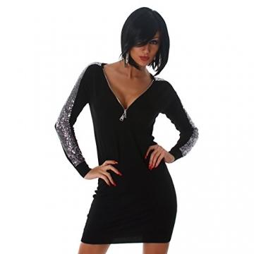 Jela London Damen Kleid Minikleid Mini Pullover Longshirt Pailletten V-Ausschnitt Schwarz 34,36,38,40 -