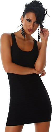 Jela London Damen Kleid MiniKleid Longtop Trendfarben 34-36 Schwarz -