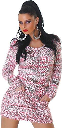 Jela London Damen kuscheliger Strick-Pulli Pullover Strickkleid Minikleid Rundhals-Ausschnitt - Pink , Onesize (34-40) - 1
