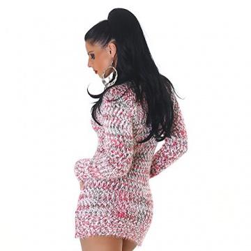 Jela London Damen kuscheliger Strick-Pulli Pullover Strickkleid Minikleid Rundhals-Ausschnitt - Pink , Onesize (34-40) - 2