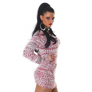 Jela London Damen kuscheliger Strick-Pulli Pullover Strickkleid Minikleid Rundhals-Ausschnitt - Pink , Onesize (34-40) - 3