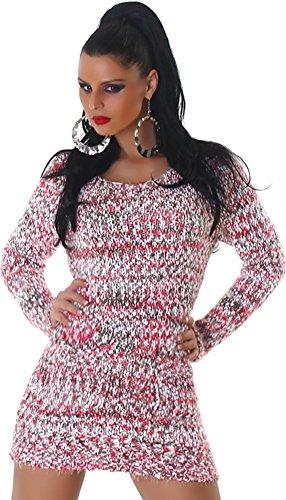 Jela London Damen kuscheliger Strick-Pulli Pullover Strickkleid Minikleid Rundhals-Ausschnitt - Pink , Onesize (34-40) - 4
