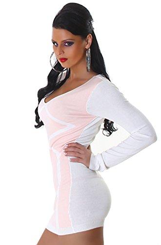 Jela London Damen Strickkleid & Pullover vorn farbig abgesetzt Einheitsgröße (34-40), rosa - 2