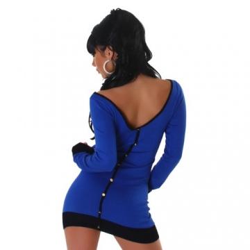 Jela London Damen Strickkleid mit Zierknopfleiste am Rücken Einheitsgröße (34-40), blau schwarz -