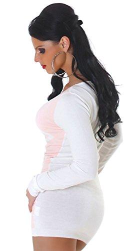 Jela London Damen Strickkleid & Pullover vorn farbig abgesetzt Einheitsgröße (34-40), rosa - 3