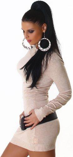 Jela London Damen Strickkleid elegant & langärmelig Einheitsgröße (32-38), beige - 3