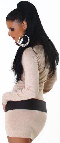 Jela London Damen Strickkleid elegant & langärmelig Einheitsgröße (32-38), beige - 4