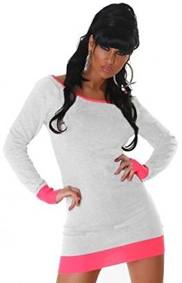 Jela London Damen Strickkleid mit Zierknopfleiste am Rücken Einheitsgröße (34-40), weiß pink - 1