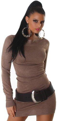Jela London Damen Strickkleid elegant & langärmelig Einheitsgröße (32-38), braun - 1