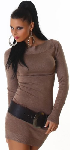 Jela London Damen Strickkleid elegant & langärmelig Einheitsgröße (32-38), braun - 3