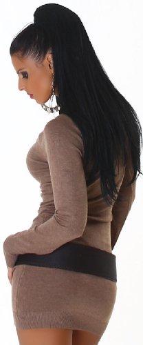 Jela London Damen Strickkleid elegant & langärmelig Einheitsgröße (32-38), braun - 4