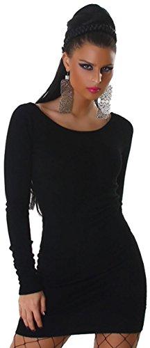 Jela London Damen Strickkleid mit Rundhals-Ausschnitt Einheitsgröße (32-38), schwarz - 1