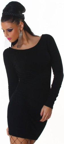 Jela London Damen Strickkleid mit Rundhals-Ausschnitt Einheitsgröße (32-38), schwarz - 3