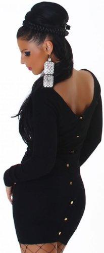 Jela London Damen Strickkleid mit Rundhals-Ausschnitt Einheitsgröße (32-38), schwarz - 5