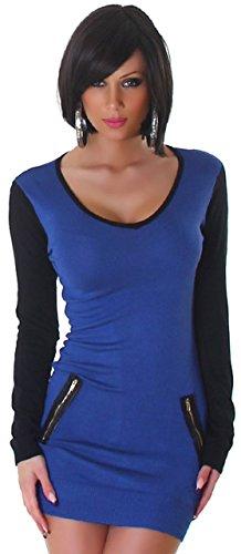 Jela London Damen Strickkleid mit V-Ausschnitt Einheitsgröße (32-38), blau schwarz -