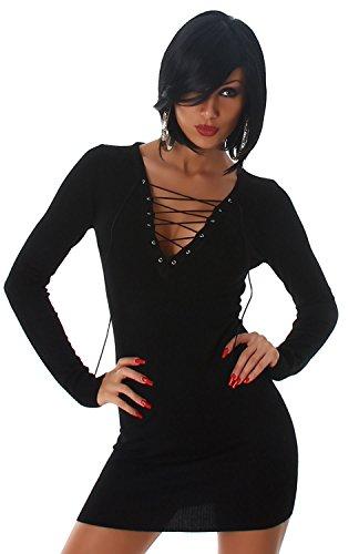 Jela London Damen Strickkleid & Pullover mit Schnüroptik am Dekolletè Einheitsgröße (34-38), schwarz - 1