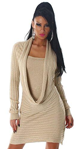 Jela London Damen Strickkleid & Pullover mit Wasserfall-Ausschnitt Einheitsgröße (34-40), beige - 1