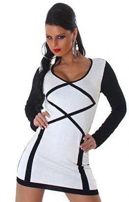 Jela London Damen Strickkleid & Pullover vorn farbig abgesetzt Einheitsgröße (34-40), weiß - 1