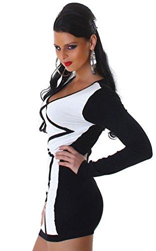 Jela London Damen Strickkleid & Pullover vorn farbig abgesetzt Einheitsgröße (34-40), weiß - 2
