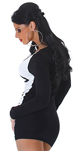Jela London Damen Strickkleid & Pullover vorn farbig abgesetzt Einheitsgröße (34-40), weiß - 3