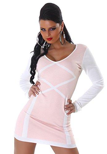 Jela London Damen Strickkleid & Pullover vorn farbig abgesetzt Einheitsgröße (34-40), rosa - 1