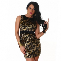 JELA London Edles Minikleid Gold Schwarz 38/L (2137) - 1