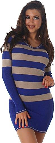 Jela London Slim-Fit Pullikleid Longpulli Pullover dünn Minikleid Feinstrick Streifen V-Ausschnitt, Blau - 1