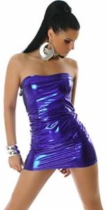 Jela London Wetlook Minikleid GoGo Kleid Bandeau Schlauch Etui Lack-Optik Leder-Look Glanz Einheitsgröße 34 36 38 Dunkel-Blau - 1