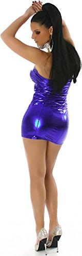 Jela London Wetlook Minikleid GoGo Kleid Bandeau Schlauch Etui Lack-Optik Leder-Look Glanz Einheitsgröße 34 36 38 Dunkel-Blau - 3