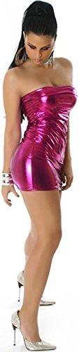 Jela London Wetlook Minikleid GoGo Kleid Bandeau Schlauch Etui Lack-Optik Leder-Look Glanz Einheitsgröße 34 36 38 Pink Fuchsia - 4