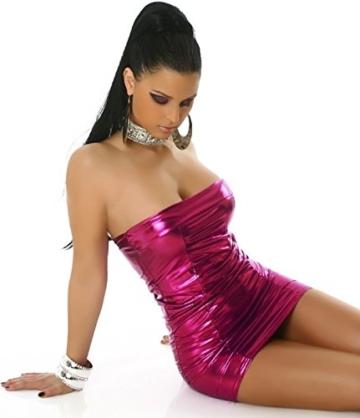 Jela London Wetlook Minikleid GoGo Kleid Bandeau Schlauch Etui Lack-Optik Leder-Look Glanz Einheitsgröße 34 36 38 Pink Fuchsia - 5