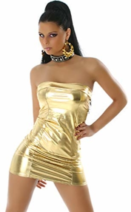 Jela London Wetlook Minikleid GoGo Kleid Bandeau Schlauch Etui Lack-Optik Leder-Look Glanz Einheitsgröße 34 36 38 Gold - 1