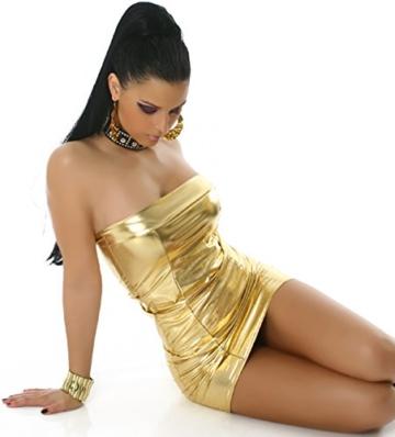 Jela London Wetlook Minikleid GoGo Kleid Bandeau Schlauch Etui Lack-Optik Leder-Look Glanz Einheitsgröße 34 36 38 Gold - 5