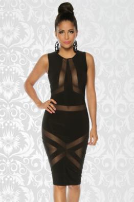 Jersey Clubwear Party Kleid Ärmellos Reizvoll durch Mesh