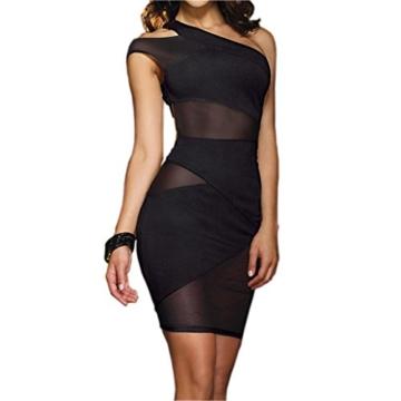 JJPUNK Damen Sexy Dessous Clubwear Party Minikleid Cocktailkleid Spitzenkleid Halb Schulter Kleider - 1