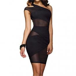 JJPUNK Damen Sexy Dessous Clubwear Party Minikleid Cocktailkleid Spitzenkleid Halb Schulter Kleider -