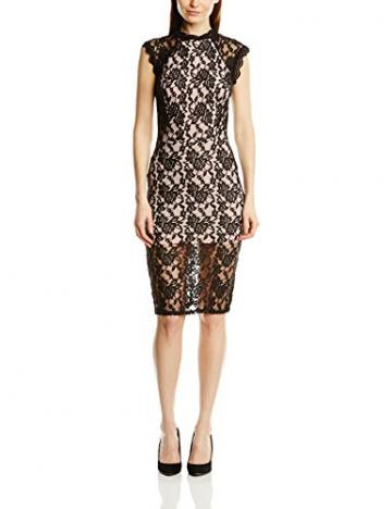 John Zack Damen Kleid All-over Lace High Neck Shift with contrast lining, Midi, Gr. 34 (Herstellergröße:Size 8), Schwarz - 1