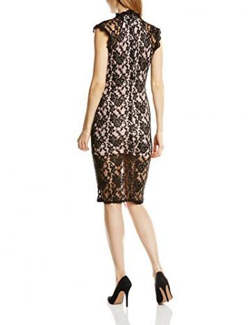 John Zack Damen Kleid All-over Lace High Neck Shift with contrast lining, Midi, Gr. 34 (Herstellergröße:Size 8), Schwarz - 2