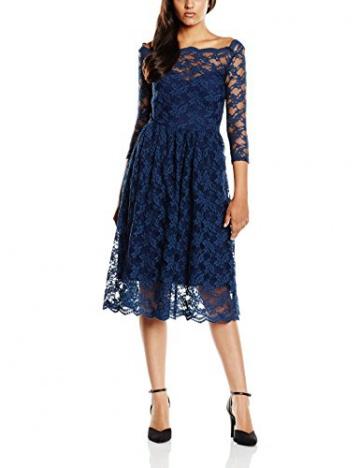 John Zack Damen, Plissee, Kleid, 3/4 Sleeve Slash Neck Midi Lace, GR. 38 (Herstellergröße: 12), Blau (navy) - 1