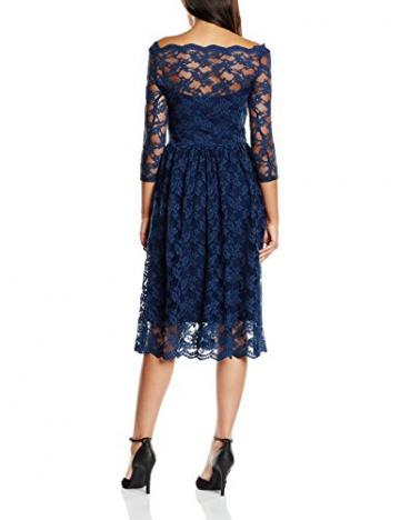 John Zack Damen, Plissee, Kleid, 3/4 Sleeve Slash Neck Midi Lace, GR. 38 (Herstellergröße: 12), Blau (navy) - 2