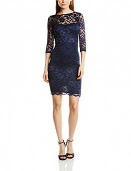 John Zack Damen Schlauch Kleid Lace Mini Body Con with Open Back, Mini, Gr. 38 (Herstellergröße:Size 12), Blau (Navy) - 1