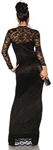 jowiha® Langes Abendkleid Maxikleid mit Spitze in Schwarz Einheitsgröße S-M 34-38 -