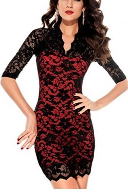 jowiha Sexy Mini Stretch Kleid mit Spitze 1/2 Arm in Schwarz Einheitsgröße S-M/L (Schwarz / Rot) -