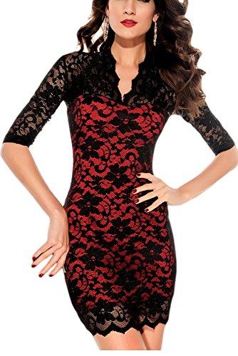 Kleid rot mit schwarzer spitze