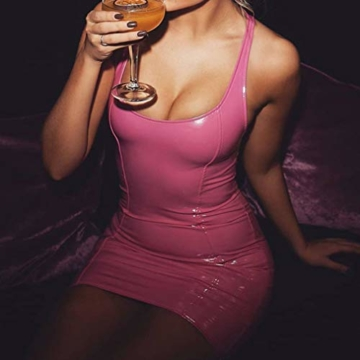 Juleya Damen PU Lederkleider Sexy Partykleid Ärmellos Rückenfrei Schlinge Weste Kleid Bodycon Kurz Minikleid Glänzendes Leder Wetlook Kleider Cocktailkleid - 3