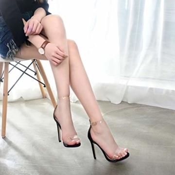 Juleya High Heels Sandaletten Damen Stiletto Schuhe, 11.5cm Frauen Römersandalen, Transparente Peep Toe Sandalen, Knöchel Schnalle Party Freizeit Hochzeit Abend Sommer Strand Schuhe Schwarz 39 - 4